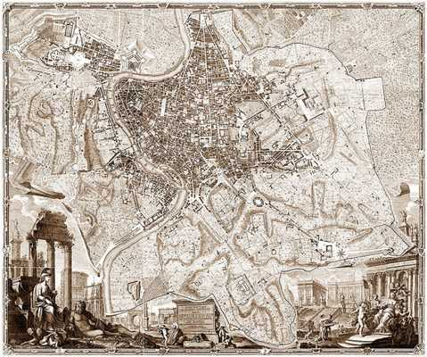 """1748 XXL baroque map of Rome and Vatican - 72"""" x 60"""" - Unframed - Etsy"""