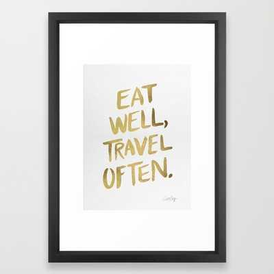 Eat Well Travel Often on Gold - framed - Society6