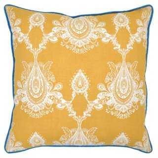 Margot 22x22 Cotton-Blend Pillow, Gold-Feather insert - One Kings Lane