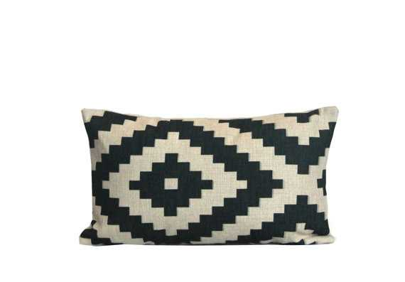 Aztec lumbar throw pillow covers 12x20 Black and white, Insert sold separately - Etsy