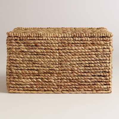 Natural Water Hyacinth Lidded Basket - Medium - World Market/Cost Plus
