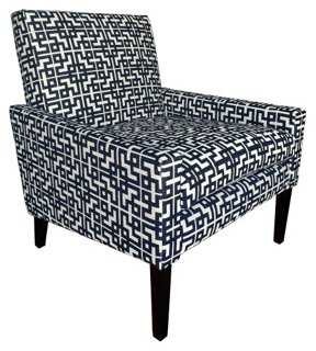 Meyer Accent Chair, Navy/White - One Kings Lane