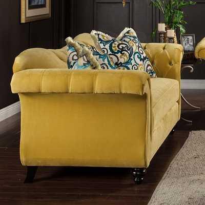 Transitional Premium Velvet Fabric Loveseat - Slick Furniture