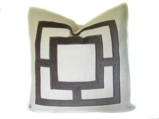 "Gray Pillow. Geometric PIllow - 18""x18""- down/feather pillow insert - Etsy"