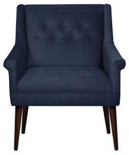 Bejal Tufted Accent Chair, Navy Velvet - One Kings Lane