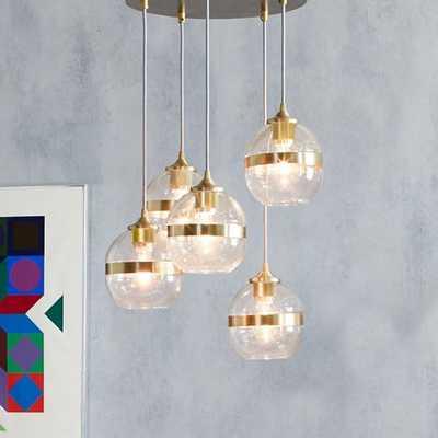 Banded Glass Chandelier - 5-Light - West Elm