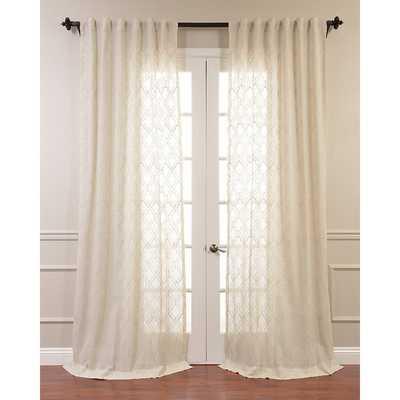 "aida Embroidered Faux Linen Sheer Single Curtain Panel 96"" - Wayfair"