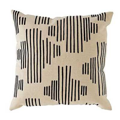 Black Mod Botanical Throw Pillow - 16x16 - With Insert - Land of Nod