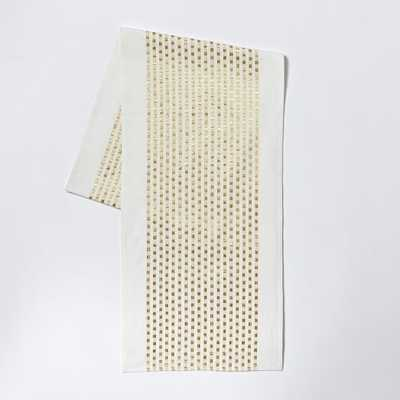Embroidered Dot Table Runner -  Gold - West Elm