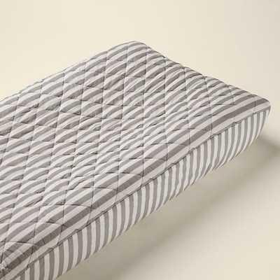 Khaki Stripe Changing Pad Cover - Land of Nod