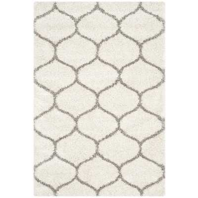 Hudson Shag Ivory & Gray Area Rug - Wayfair