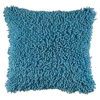 "Rizzy Home Shag Decorative Throw Pillow - Aqua Tint - 18"" x 18"" - Polyester Insert - Target"