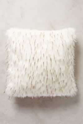 Faux-Fur Pillow - 18x18 - White/Brown - With Insert - Anthropologie