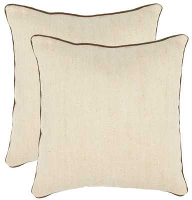 "Mac Pillow - 18"" W X 18"" H - Natural , chocolate brown- Fiberfill - Domino"