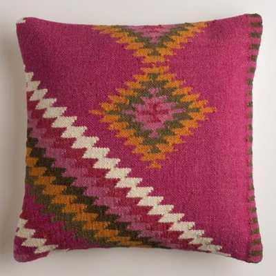 Montesilvano Wool Throw Pillow - Purple-pink - 18x18 - Polyester insert - World Market/Cost Plus