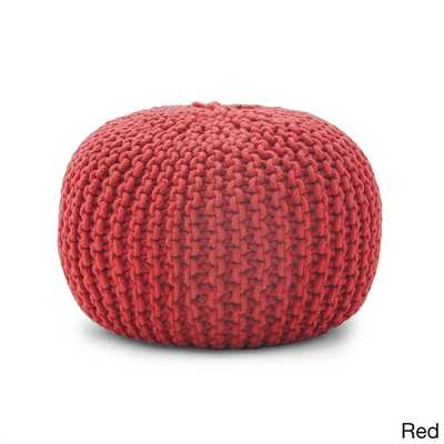 BeanSack Rope Knit 20-inch Red Pouf Ottoman - Overstock