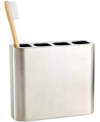 CLOSEOUT! Hotel Collection Hotel Modern Brushed Stainless Steel Toothbrush Holder - Macys