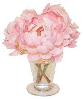 "7"" Peonies Pink Parfait in Vase, Faux - One Kings Lane"