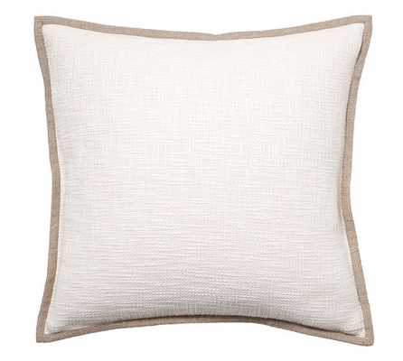 "Basketweave Pillow Cover, 24"", Ivory, No Insert - Pottery Barn"