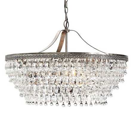 Clarissa Glass Drop Large Round Chandelier- Large - Pottery Barn