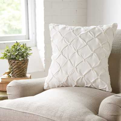 """Alda Pintucked 18"""" Square White Pillow Cover/Insert sold separately - Birch Lane"""