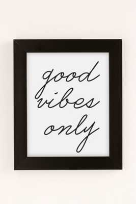"""Letters On Love Good Vibes Only Art Print - 13"""" x 19"""" - Black Matte Frame - Urban Outfitters"""