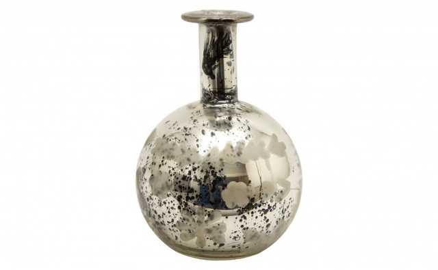 ETCHED MERCURY GLASS BOTTLE - E - Jayson Home