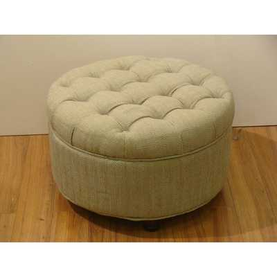 Tan and Cream Tweed Tufted Storage Ottoman - Overstock