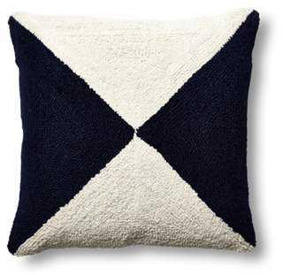 Nautical Flag 16x16 Wool Pillow - Navy - Polyester insert - One Kings Lane