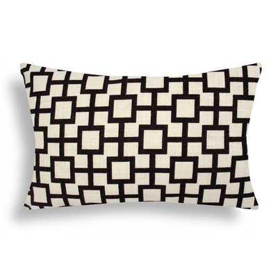 Lattice Cotton Lumbar Pillow - 12x18, With Insert - AllModern
