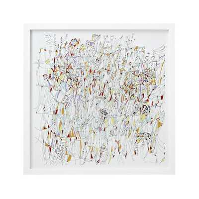 """Carnival Life Abstract Print. 43"""" sq. x 1.5""""D - Framed - Crate and Barrel"""