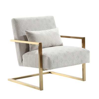 Armen Living Skyline Modern Accent Chair In Cream Chenille and Gold Metal - Overstock