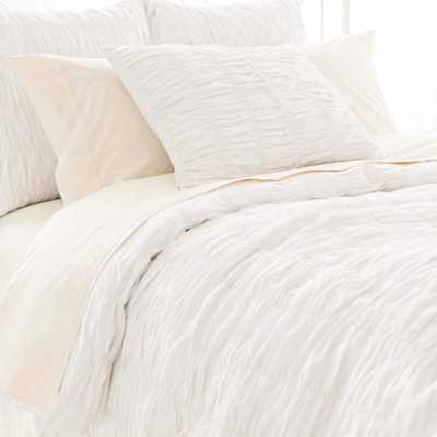 Smocked White Duvet Cover-Queen - Pine Cone Hill