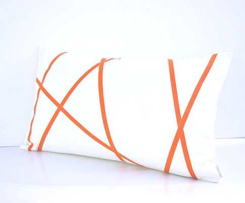 white and orange pillow cover - 12 x 20 no insert - Etsy