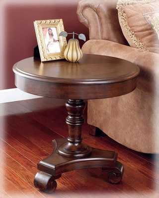 Brookfield Traditional Dark Rustic Wood Round End Table - theclassyhome.com
