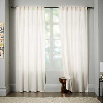 "Velvet Pole Pocket Curtain, Set Of 2, Ivory, 48""X96"" - West Elm"