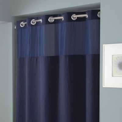 Hookless® Waffle 54-Inch x 80-Inch Stall Fabric Shower Curtain and Liner Set in Navy - Bed Bath & Beyond