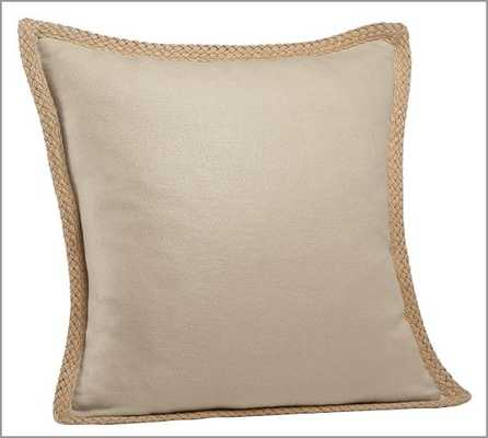 "Jute Braid Pillow Cover, FLAX - 20"" sq - Insert sold separately. - Pottery Barn"