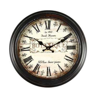 "14.6"" Round ""Botanique"" Roman Numeral Wall Hanging Clock - Wayfair"