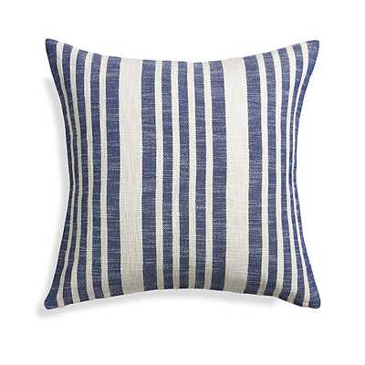 "Celena Blue Stripe 23"" Pillow with Feather-Down Insert - Crate and Barrel"