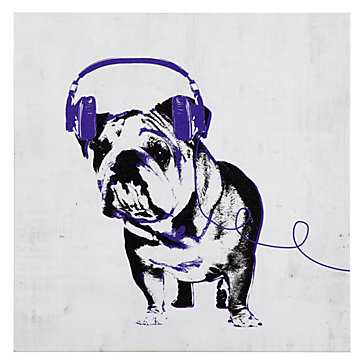 Music Love Bull Dog - 12''W x 12''H   - Unframed - Z Gallerie