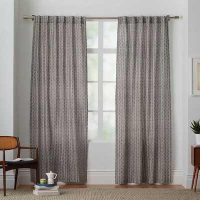 "Cotton Canvas Bracket Geo Curtain - Slate - 108"" - West Elm"