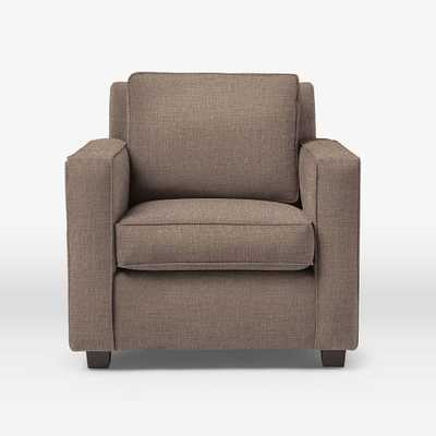 Henry Armchair, Tweed, Cacao - Linen Weave, Hazy Taupe - West Elm