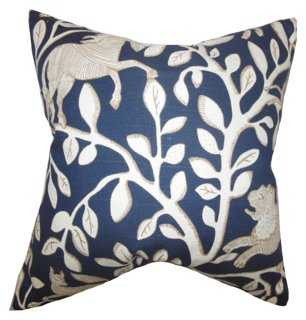 Leaves 18x18 Cotton Pillow, Blue - Ffeather/down insert - One Kings Lane