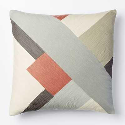 "Crewel Modern Blocks Pillow Cover - Rose Bisque -20""sq- No insert - West Elm"