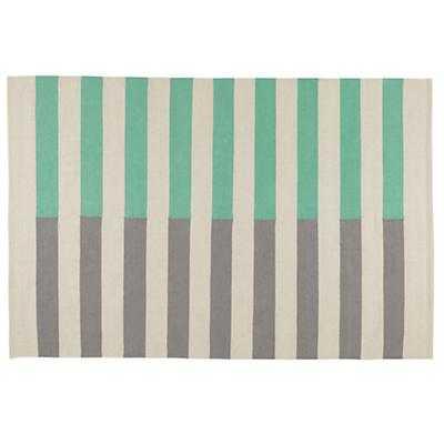 Half Stripe Rug (Aqua) - Land of Nod