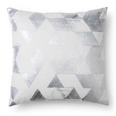 "Metallic Triangle Decorative Pillow - Cream 18""Sq, Polyster Insert - Target"
