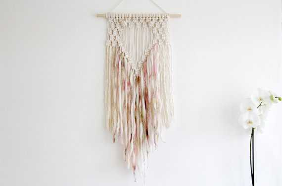 Chunky Merino Wool and Macrame Wall Hanging - Etsy