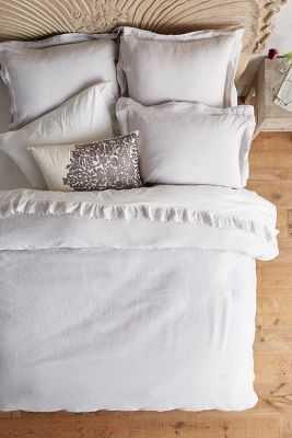 Soft-Washed Linen Duvet - King - Light Grey - Anthropologie