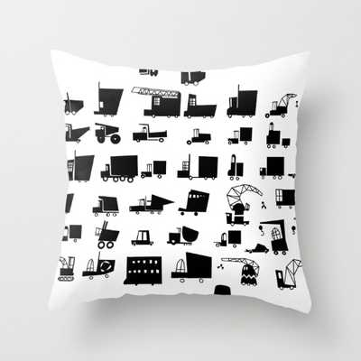 """Cars and trucks Pillow - 16"""" x 16"""" - Down Insert - Society6"""
